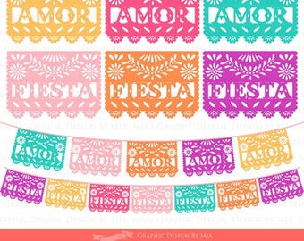 AMOR and FIESTA 6 Colors Papel Picado / Fiesta Bunting / Colorful FIESTA Papel Picado Clip Art - Instant  Download - CA070