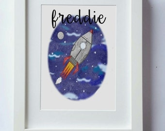 Space, rocket print, watercolour girls or boys wall art, unframed print, kids wall decor, kids print, girls nursery picture