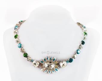 Necklace 50ies Vintage made with SwarovskiELEMENTS blue blau grün green wedding hochzeit