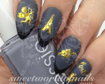 Eiffel tower nail etsy valentines day nail art stickers gold eiffel tower cupid heart love diamond prinsesfo Images