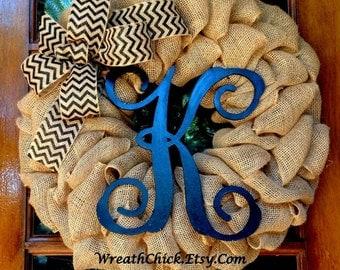 Front door wreath, Burlap wreath with initial, Black and tan wreath, All season wreath, Winter wreath, outdoor wreath, burlap door wreath