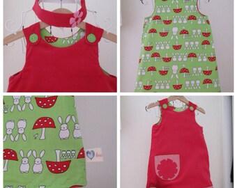 Lily Bobtail style Reversible Dress, girls pinafore, shift dress, Peter Rabbit 2 in 1, baby needle cord, Green Bunny soft poplin,
