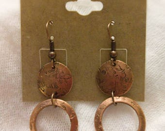 Copper Stamped Washer Earrings!