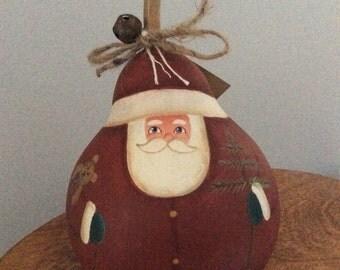 Painted gourd Santa
