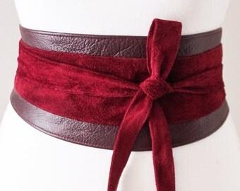 Dark Red Obi Leather Suede Belt | Dark Red Suede Obi Belt | Waist Belt | Sash Tie Belt | Womens Leather Belt| Corset Belt | Plus size belts