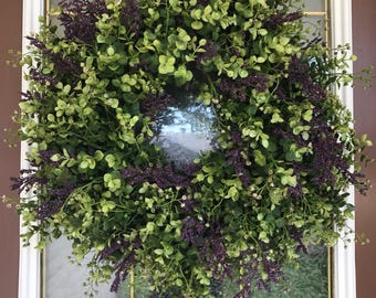 Spring Wreath, Eucalyptus Wreath, Boxwood Wreath, Greenery Wreath, Front Door Wreath