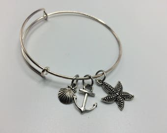 Anchor charm bracelet, Ocean Bracelet, Starfish Bangle, Sea Charm bracelet, Seashell Bracelet