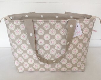 Daisy Zippered Tote Bag, Taupe Daisy Bag, Medium Zippered Bag