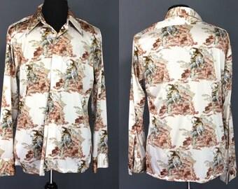70's Disco Shirt....70's Poly Western Motif Cowboy Print Disco Shirt Size XL