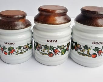 Set of 3 Croatian White Porcelain Canisters with Vegetable Detail and Wood Lids
