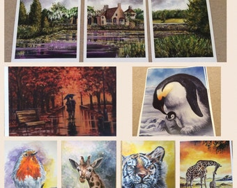 WALL ART, LIMITED Edition Prints, of Landscapes, Animal Art, Penguins, Tiger, Giraffes, Robin Printed From Original Artwork