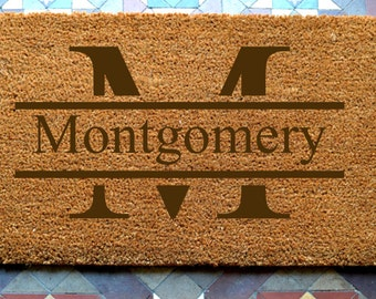 door mat  Family Name Monogram engraved coir door mat Size: 400 x 600 mm