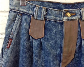 Vintage 1980s Deadstock Acid Wash Jeans with Faux Leather Accents Size 30 x 30