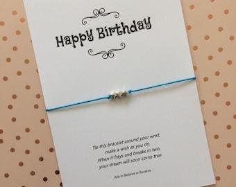 Birthday card wish string bracelet, birthday card charm bracelet, birthday gift, personalised birthday gift