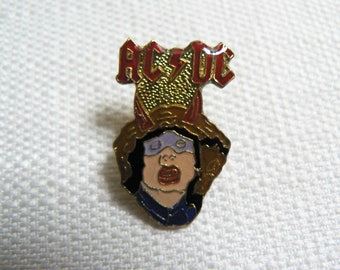Vintage 1980s AC/DC Enamel Pin / Button / Badge