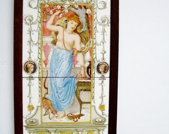Framed Classical Tile Panel, Diana Goddess Hunt, Faun, Spring, Antique
