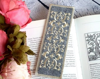 Felt book mark, book lovers, gray literary gifts for readers, bookworm for her, handmade bookmarks
