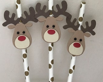 Christmas Drinking Straws x 6, Reindeer Drinking Straws, Christmas Eve Boxes