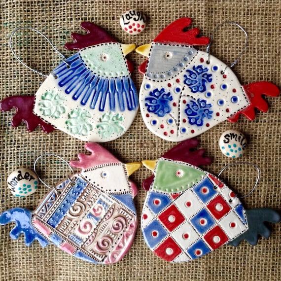 Ceramic Hanging Hens