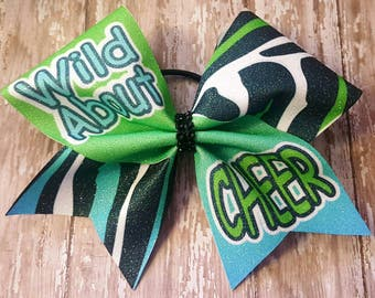 Cheer Hair Bow- Wild About Cheer Sub