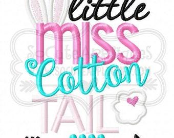 Girls Easter Shirt Little Miss Cotton Tail Shirt Easter Bunny Shirt Girls Embroidered Easter Shirt Little Girls Easter Shirt