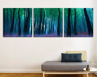 "3 Panel Split,Triptych  Panoramic Forest Mist Canvas Print, 1.5"" frames - Nature photography for living room/office decor & interior design."