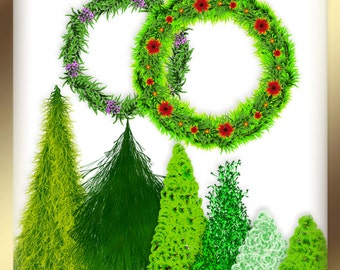 Christmas clipart Christmas wreath clipart Pine wreath clipart Christmas trees clipart Green wreath clipart Christmas fir trees clipart PNG