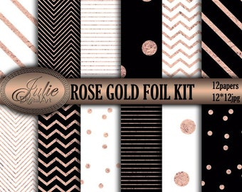 Rose Gold foil digital paper, Black and white, confetti, Stripes, Chevron background. Instant download
