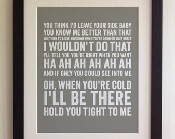 FRAMED Lyrics Print - Sade, By Your Side - 20 Colours options, Black/White Frame, Wedding, Anniversary, Valentines, Fab Picture Gift