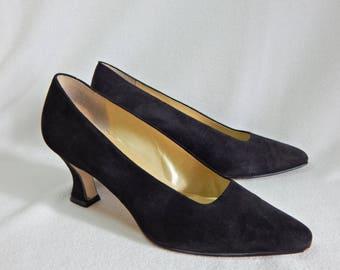 Vtg Nine West Black Pumps Witch Heels 8 M Suede Leather Shoes F-60