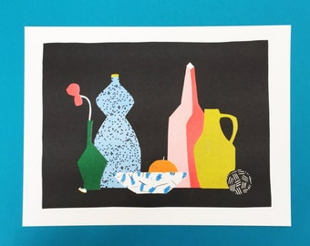 Risograph print of a still life with a black dotted blue bottle