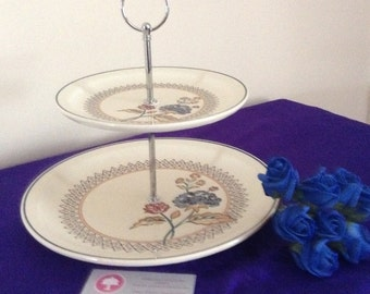 Pretty 2 tier cake stand with blue flowers