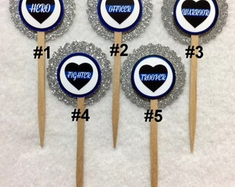 Set Of 12 Personalized Police Sayings & Words  Cupcake Toppers (Your Choice Of Any 12)