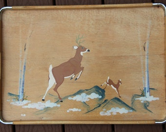 Vintage Wood Serving Tray with Handholds and Woodland Deer Scene