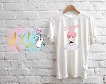 BTS YNWA watercolor pink J-Hope T-Shirt (Design by Yoomint)