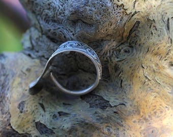 Men's Sterling Silver Spoon Ring /  Handmade Bypass Ring / size (13)