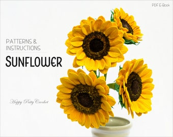 Crochet Sunflower Pattern - Crochet Flower Pattern for arrangements and bouquets - Crochet Pattern for Sunflower flower