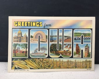Greetings from Iowa - Vintage Postcard - Linen Paper - Curt Teich & Co. - Unused Postcard - Paper Ephemera