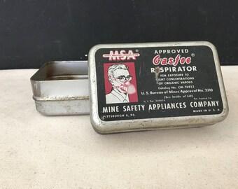 Gasfoe Respirator Tin - Vintage MSA Display Tin - Mine Safety Appliance Co. - Medical - Prop - Display Gas Mask Tin