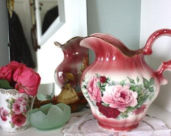 Vintage floral rose print wash stand water jug pitcher