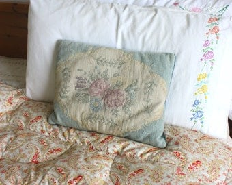 Pretty Vintage floral embroidered needlepoint velvet cushion
