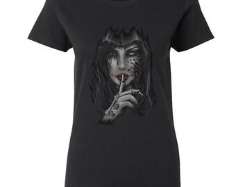 Shh Girl Skull Women's T-shirt Shirt Day of the Dead Halloween Costume Tees