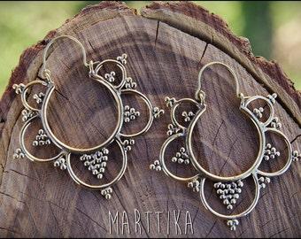 Brass Earrings. Hoop earrings. Ethnic style. Tribal jewelry. Boho