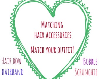 Matching hair accessory - match your Pink Bobbins outfit! Choose from: hair bow, hairband, headband, scrunchie, bow bobble