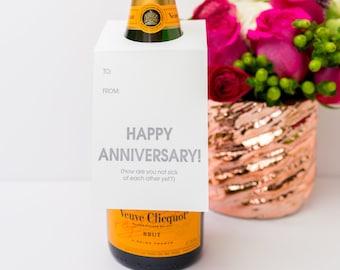 Funny Wine Tag. Happy Anniversary Wine and Spirit Letterpress Tag - Set of Three