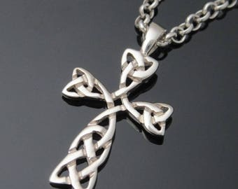ON SALE - Sterling Silver Celtic Cross - Irish Made Jewelry - Communion Jewelry - Christian Jewelry - Celtic Knot Cross