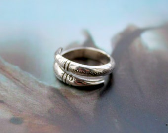 Ant-eater ring / silver ring / silver snake ring / adjustable silver ring