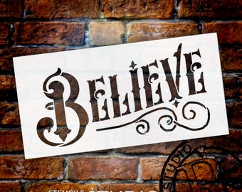 "Believe Word Art Stencil - Magical Vintage - 8"" X 4"" - STCL873_1 - by StudioR12"
