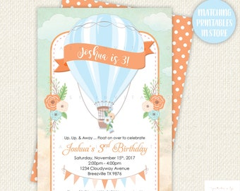 Hot Air Balloon Invite, Hot Air Balloon Invitation, Hot Air Balloon Boys, Hot Air Balloon Boy Invitations, up up away birthday, printable