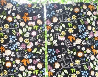 Set of 2 Cotton Long Curtain Panels, Fabric, each: 202 x 37,5 cm / 79,5 x 14,7 inch, Black Blue Orange Birds Flowers Cotton Fabric #3-02